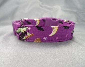 Halloween Dog Collar Wonderful Witches on Purple