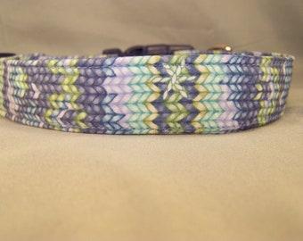 Blue Knit look Dog Collar