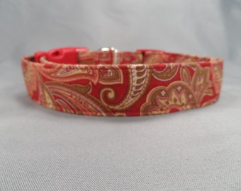 Red and Tan Paisley Dog Collar