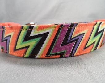 Halloween Dog  Collar Funky Zigzag  Stripe, Handmade