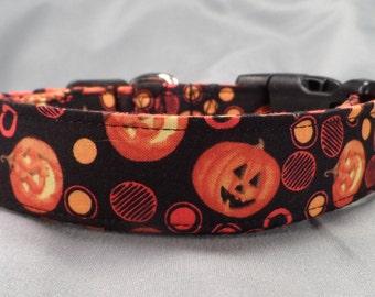 Pumpkins and Polka Dots Halloween Dog Collar