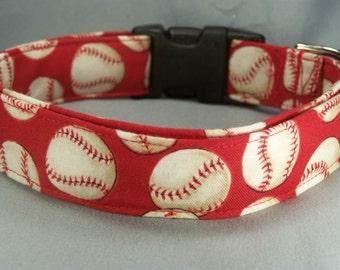 Dog Collar Red Baseball Dog Collar