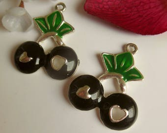 set of 2 enameled metal cherry charms