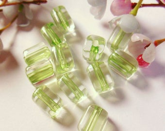 set of 12 beads plastic rectangular shaped