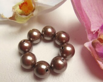 set of 10 round beads magnetic Brown mother of Pearl look
