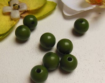 set of 8 khaki acrylic round beads