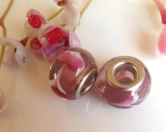 set of 14 purple and pink lampwork glass beads