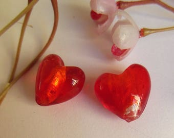 set of 2 hearts style lampwork beads