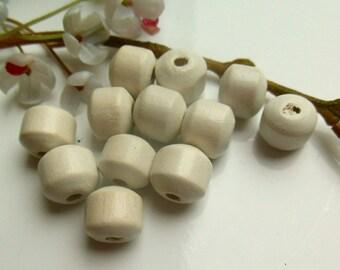 set of 12 white wood beads