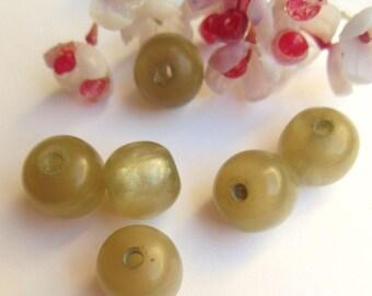 set of 6 khaki acrylic round beads