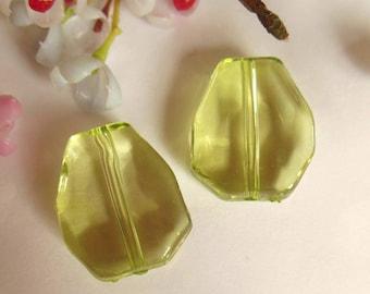 set of 2 green plastic beads