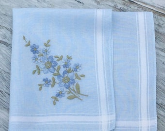 Vintage Handkerchief, Ladies Hankie, Blue Handkerchiefs, Floral Hankie, Embroidered Hankie, Something Blue, Wedding Hankies