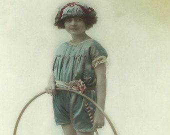Bonnet Fur Hat Teddy Coat Kids Children Postcard Vintage Girl Postcard