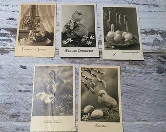 Vintage Easter Postcards . Set of 5 Vintage Postcards . Vintage German Postcard . Vintage Postcard Pack .