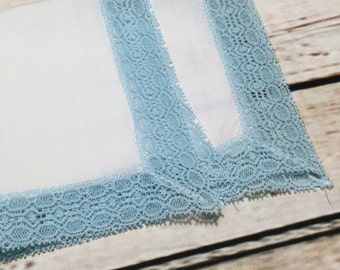 Vintage Handkerchief, White Hankie, Something Blue, Vintage Hankie, Ladies Hankies, Lace Hankie, Wedding Hankie, Retro Hankies, Mid Century