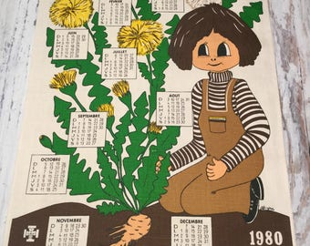 Vintage Calender, 1980 Calender, Belgian Towel, Calendar Towel, Big Eyed Girl, Vintage Dish Towel, Retro Print Towel, Birthday Gift