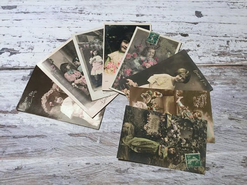Vintage Kids Postcard Set, French Vintage Postcards Pack, Children  Postcards, Scrapbook Pictures,