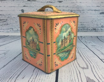 Vintage Cote d'Or Tin . Pink Castle Tin . Old Canister . Square Belgian Cookie Tin . Vintage Tin Box .
