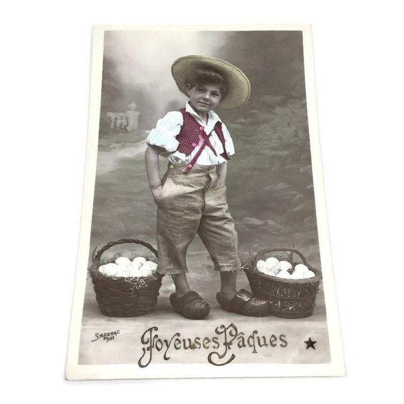Country Boy Easter Eggs Basket Kids Children Postcard, French Vintage Postcard
