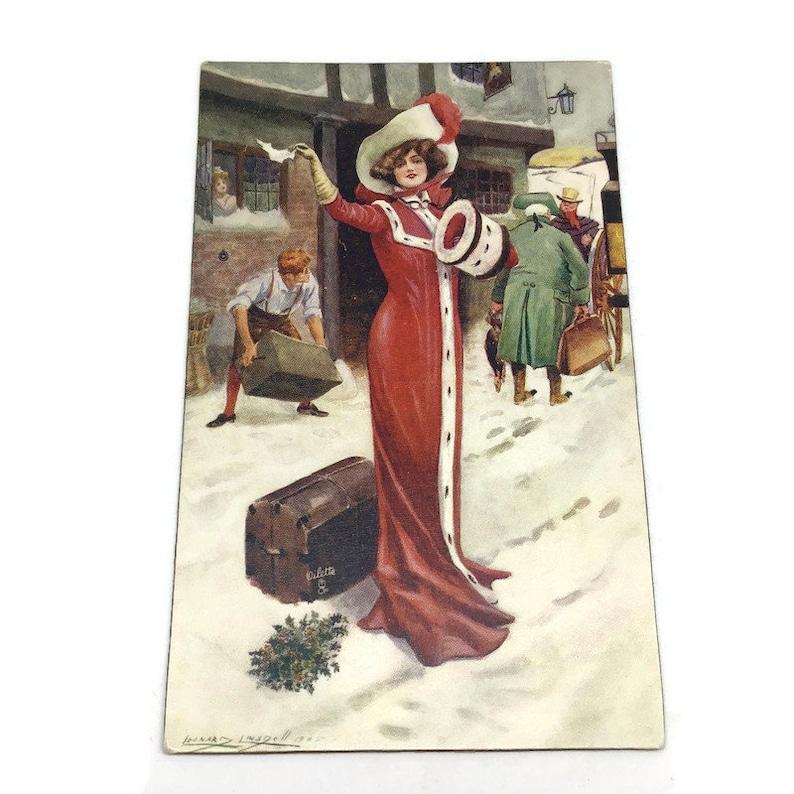 Woman in Long Red Cloak Waving Vintage Tuck/'s Woman Postcard