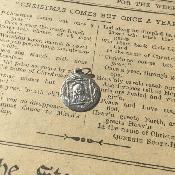 Vintage Religious Medal Holy Mary of Berzee, Notre Dame de Grace Pendant, Sacred Heart Prayer Charm Medallion ,