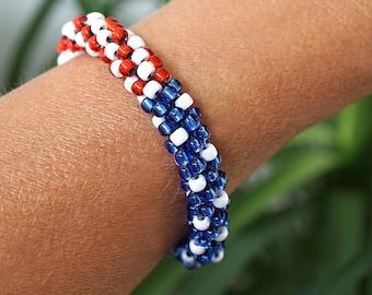 Patriotic USA Flag Bracelet, American Flag Beaded Crochet Rope Bracelet, Blue Red White Bead Bracelet, Patriotic Jewelry for Women