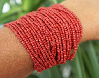 ON VACATION, Red 30 Strand Beaded Bracelet with Shell Button, Crocheted Bohemian Bracelet Retro Fashion Modern Vintage Jewelry, Multi Strand