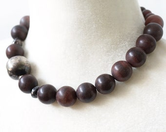 ON VACATION, Exquisite Natural Stone necklace, Sterling Silver and Burgundy Brown Jasper Stone Beaded Necklace, Large Beads, Unique jewelry