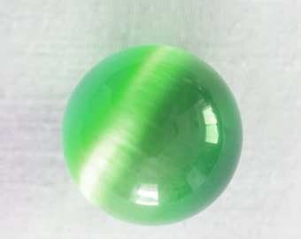 Big Glass Marble, Large Green Cats Eye Marble, Vintage Marble, Fiber Optic Stone Sphere, Collectors Marble, Colorful Ball 25mm dorm decor
