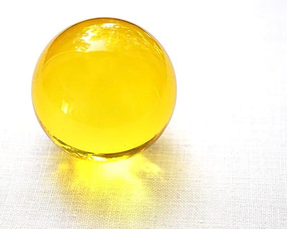 Vintage Decor Huge Glass Ball 39mm 1 2 Large Yellow