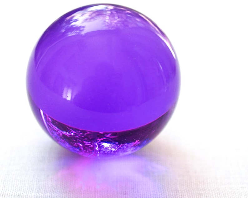 Deep Purple Crystal Ball Huge Glass Ball 39mm Large Marble Big Glass Marble  Vintage Marble Sphere Collectors Marble vintage Home Decor
