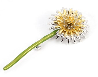 ON VACATION, Make a wish Dandelion Brooch, White and Yellow Gold Flower brooch, Antique brooch, Enamel Flower Jewelry Vintage Wedding Brooch