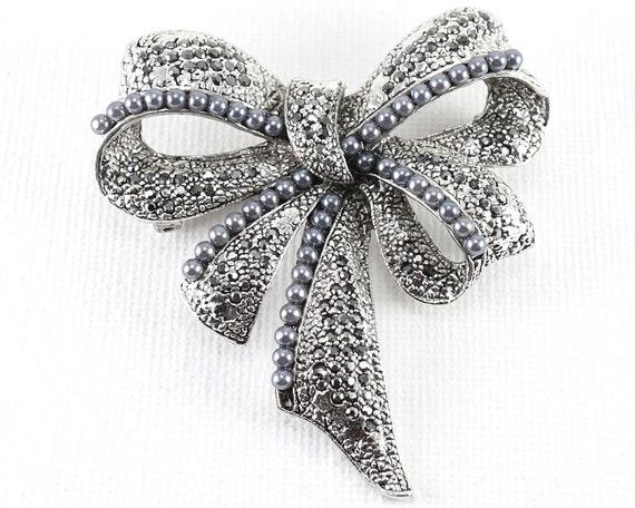 Silver Bow Brooch Paste Brooch Vintage Brooch 1950s Pave Brooch Crystal Rhinestone Brooch Diamante Brooch Italian Silver Brooch