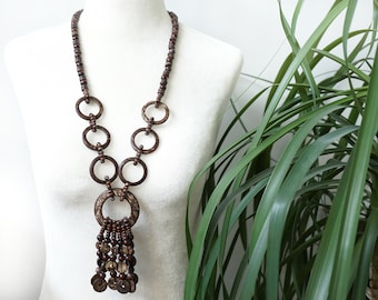 ON VACATION, Beaded Tassel Long Necklace, Large Geometric Circles, Coconut and Wooden Beads Brown Retro Rustic Tribal Ethnic Festival Boho