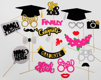 Graduation Photo Booth Props - Class of 2018 Graduation Party - Graduation PhotoBooth Props 2018 - Graduation Party Props