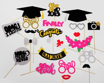 2018 Graduation Photo Booth Props - Class of 2018 Graduation Party - Graduation Party Props - High School Graduation