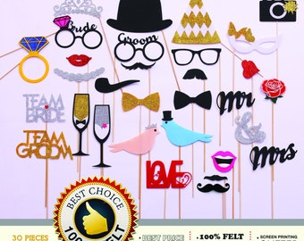 30 PhotoBooth Props, Mustache Party, Lips, Wedding Photo Booth, Props on a Stick