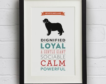 Newfoundland Dog Breed Traits Print - Newfoundland Gift ebd23e5751cf
