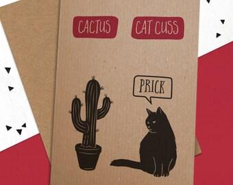ca379c35 Cactus / Catcuss Card - Funny Cat Card