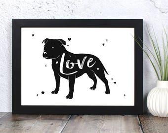Staffordshire Bull Terrier 'Love' Print - Gift for Staffy Lovers