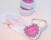 Pink Personalised heart tin wedding favours. Winter wedding. Spring wedding. Summer Wedding listing is for 50 favours