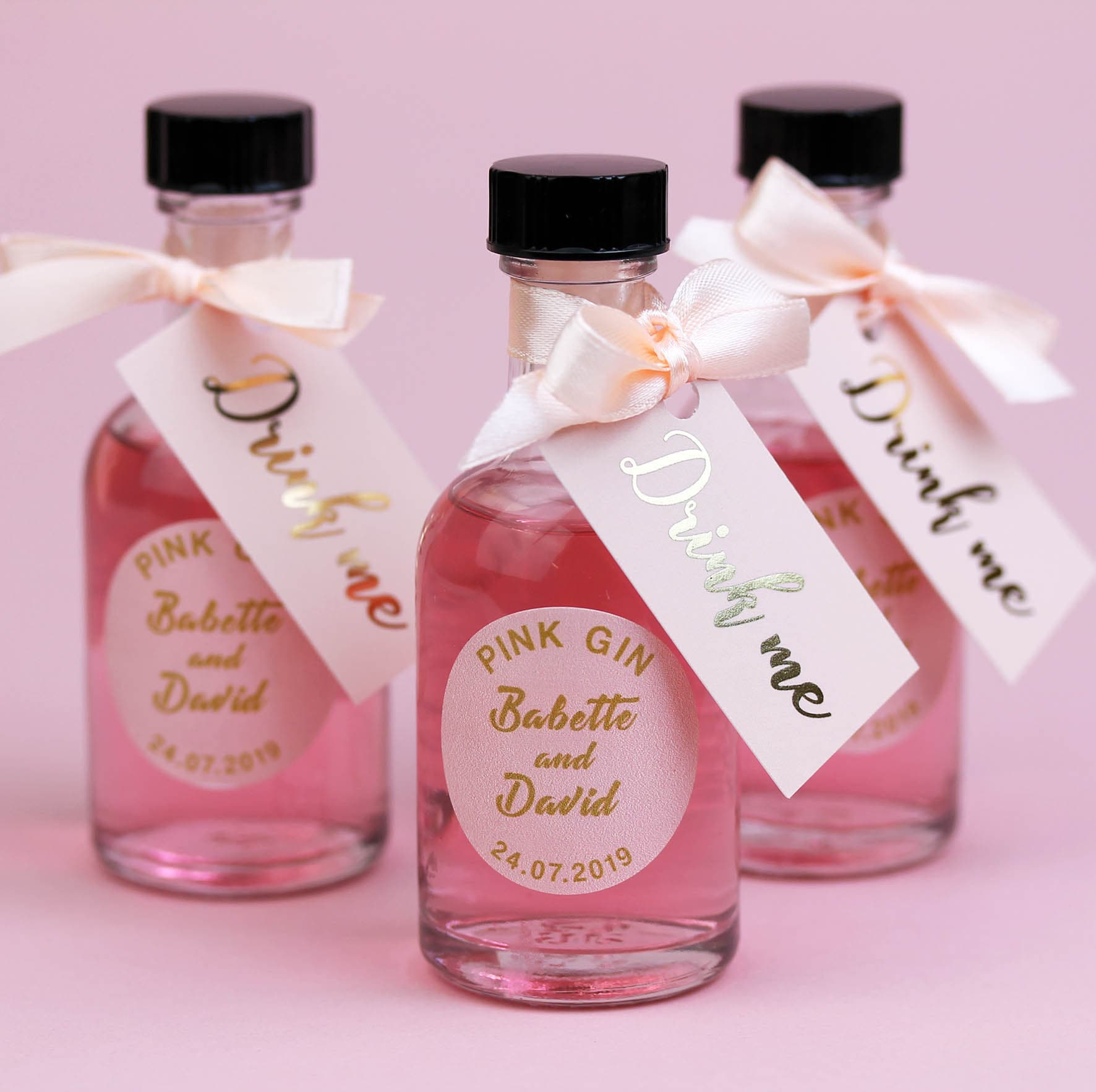 Blush and Gold Wedding Favours for Pink Gin miniature bottles | Etsy