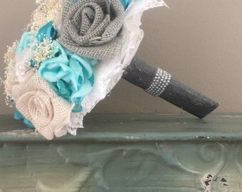 Teal Grey Bouquet Etsy