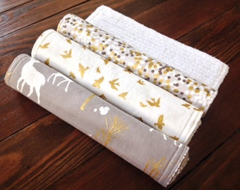 Burp Cloth ~ Nature//Deer//Birds//Metallic//Gold//Glitz//Fog//Natural