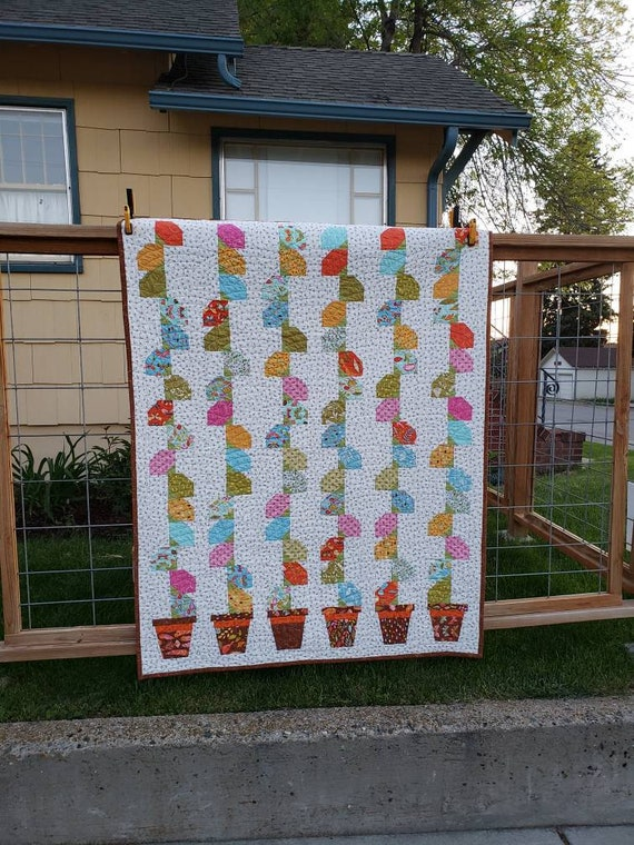 Modern Lap Quilt, Montana Handmade, Flower Pots With Honey Bee Neutral Background, Butterflies, Leaves and Dots, 47 inches by 61 inches