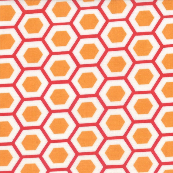 Hexagons In Orange With Red From Mixed Bag Collection By Studio M For Moda Fabrics by the Yard  32865 26