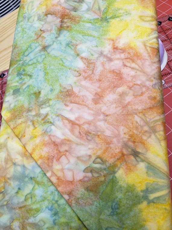 Sunkiss Tangy Splash of Peach, Green and Yellow Batik Pat Sloan Bobbins & Bits Batiks Quilt Fabric by the Yard 43037 121