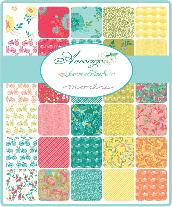 Acreage Charm Pack for Moda Fabrics by Designer Shannon Gillman Orr.  Features Bicycles and Baskets With Flowers and Bright Colors. 45500PP