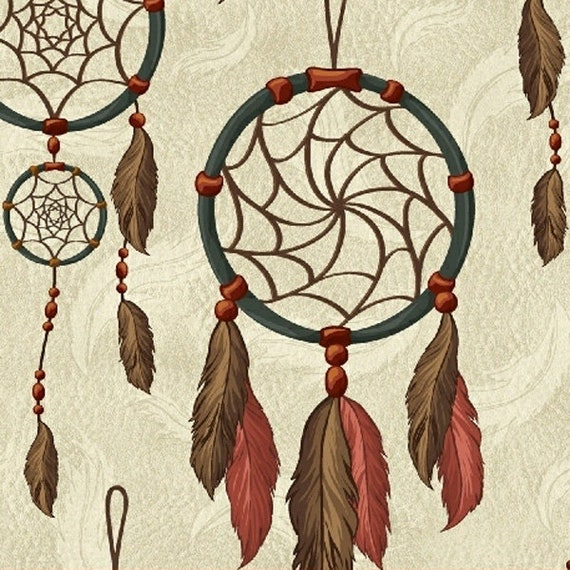 Native American Dreamcatcher With Feathers On Creme In Brown, Turquoise,  And Orange, Fabric by the Yard 36552 2