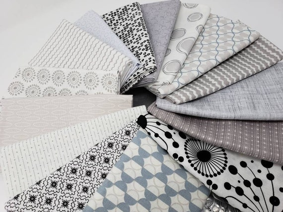 Modern Gray Neutral Fat Quarter Bundle Of 15 Pieces, Cream, White and Grey Backgrounds Hand Cut In My Studio